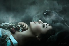 Nevermore ({jessica drossin}) Tags: halloween jessicadrossin face bird raven crow smoke mist blue profile portrait