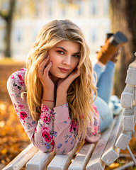 Sara (Michał Banach) Tags: nikond850 poland polska rogalin rogalinlandscapepark tamronsp85mmf18divcusd autumn beautiful beauty bench female girl polishgirl portrait portret sun woman mosina greaterpolandvoivodeship
