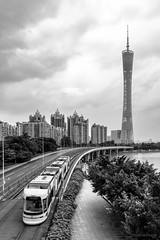 Tower (kevinho86) Tags: landmark tower canton canon cityscapes city monochrome blackwhite bw 雲 空 guangzhou pearlrivernewtown 建築 landscape scenery scape downtown citylife art simple 城市 urban 珠江新城 天際線 architecture 都會 ef1635f4lusm eos450d wideangle cloudy