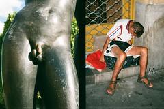 street. offside2019. budapest. (Yaroslav F.) Tags: budapest human monument bronze lifestyle life everyday 35mm halfframe half frame hungary city street photography dyptych sleeping man penis cock pizzle yaroslav futymskyi fujifilm c200 film camera
