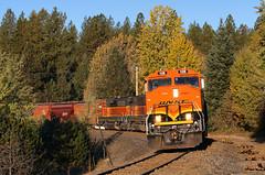 Chewelah Turn into a rising sun (Moffat Road) Tags: bnsf emd gp60m chewelahturn freighttrain loonlake clayton curve train railroad locomotive washington wa local localfreight