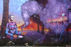 Burlington Disembodied Head Street Art # 2 (Jay Costello) Tags: burlington vermont burlingtonvermont vt street art grafitti colorful headless disembodied purple blue