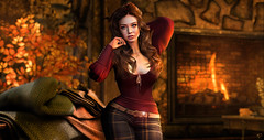 Flame of Autumn (meriluu17) Tags: autumn flare fall fireplace fire cozy red warm warmth light orange people portrait amitie justbecause itgirls