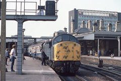 SHEFFIELD DEPARTURE (Malvern Firebrand) Tags: 40012 named aureol sheffield midland station september 1984 yorkshire southyorkshire class40 40 40xxx loco locomotive diesel engine englishelectric outdoors platform passengers rail staff enthusiasts people signal gantry buildings
