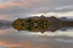 Autumn Sunrise (jeanette_lea) Tags: landscape united kingdom crow park derwentwater keswick the lake district cumbria dawn sunrise lowlight autumn colours mist reflections boathouse trees sky clouds fells