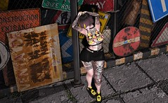 Make Your Own Rules (Miru in SL) Tags: second life sl sass mesh clothing vegas tattoos men only wearhouse backdrop maitreya suicide girls punk shoes creepers legacy yellow road signs fashion alternative