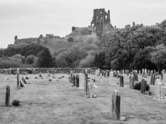 Corfe Castle-FA230263 (tony.rummery) Tags: blackandwhite castle corfecastle devon em5mkii historic mft microfourthirds nationaltrust omd olympus purbeck ruins wareham england unitedkingdom