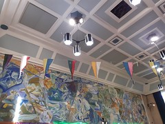27th October 2019 (themostinept) Tags: dancearoundtheworldfestivaloftraditionaldance london cecilsharphouse camden nw1 2regentsparkroad ivonhitchensmural lights flags bunting wall mural ceiling