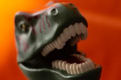 Fake (kurjuz) Tags: fake macromondays dinosaur green mouth orange teeth
