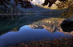 Atmosfera (giannipiras555) Tags: lago mattino alberi atmosfera nebbia alba foglie dolomiti montagna riflessi landscape panorama autunno foliage paesaggio nikon colori trentino