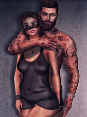 [ 📷 - 135 ] (insociable.sl) Tags: ink tattoo beard mask transparency transparent underwear sensual sexy man woman female male boy girl couple love bae girlfriend models edit sl secondlife