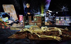 Peter Sat on a Trunk Far Away from the skeleton and thought about it (Rob Goldstein) Tags: books flipbooks illustrations graffitiart vibrant virtualreality fables avatars