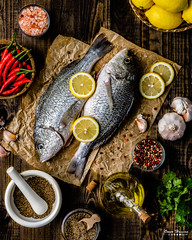 Baked Whole Fish 1 (omer.arahman) Tags: fish seafood yummy seasoning spices spicy chili cumin lemon cilantro wood dark food foodphotos