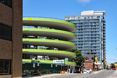 Ramp to The Museum (Kitchener) Car Park (Can Pac Swire) Tags: ontario canada canadian 2019aimg7395 neon green lime car park garage circular multilevel multiplelevel multiple storey condo building condominium apartment flats architecture kitchener themuseum duke street st w west