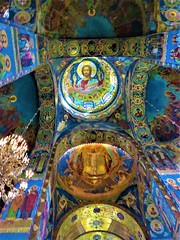 Russia Cathedral Art, St. Petersburg (moonjazz) Tags: russia religion russianorthodox art christ ceiling architecture famous stpetersburg tiles mosiac holy light worship church cathedral churchofthesavioronblood historic preservation icons jesus