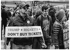 Trump + Ricketts = Don't Buy Tickets (swanksalot) Tags: trump trumptower tower ricketts cubs chicago blackandwhite bw tweeted strangers protest explore explored tickets toddricketts rnc