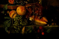 Still Life With Fruit (Christina's World : updated bio) Tags: 2475 stilllife fruit oldmasters museum dramatic dark brightcolors blackbackground painting topaz textures huntingtonlibraryandgardens european art jacobvanwalscapelle artist mid17thearly18thcentury stilllifewithfruit oilpainting renaissancebaroqueperiod14th18thcenturies dutchpainter ladybug bugs butterfly california unitedstates topclass oe blackintheback black kurtpeiser exhibitoftalent fragiletouch operapremiere