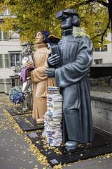Zwingli statues, Grossmünsterplatz, Zürich, Canton of Zürich, Switzerland (rickwarner) Tags: cantonofzürich grossmünster switzerland zurich