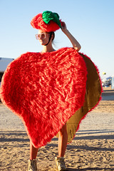 Strawberry Jesticle (Foodo Dood) Tags: sony a7ii 85mm batis zeiss portrait sunset youtopia burningmanregional strawberry costume jesticles playa bootopia halloween