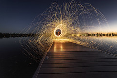 Dock Sparks (superdavebrem77) Tags: steelwool wideangle longexposure bluehour peterborough reflections