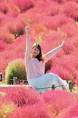 A girl from Vietnam (keiko*has) Tags: vietnamese tourist hitachiseasidepark ibarakipref japan autumn broomgrass