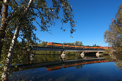 A-B-B-B-A over the Spokane River (Moffat Road) Tags: bnsf chewelahturn bridgetrees river water reflection emd gp60m gp60b spokaneriver spokane washington train railroad locomotive wa
