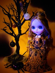 Mistress of the Spider Kingdom calls her subjects to her as Hallow's Eve falls. It's time for them to spin their silk for her delicate gowns. Time After Alice. Painterslife sleeveless gown and jacket. (Painters Life) Tags: fall autumn halloween orange spiders takara blythedoll blythe timeafteralice