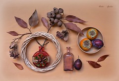 Autumn Is the Time When the Leaves Bud (Esther Spektor - Thanks for 16+millions views..) Tags: stilllife naturemorte bodegon naturezamorta stilleben naturamorta art composition creativephotography autumn plant branch leaf bud food fruit persimmon plum bottle wreath dry glass flower decorative bowl ambient loght beige brown rust mauve orange green estherspektor canon