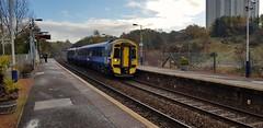 Abellio Scotrail Class 158 158735 arriving at Summerston Station Platform 2 with service 2W67 (29-10-19) (Rikki Cameron) Tags: trains abellio scotrail scotrailsaltireblue class158 expresssprinter 158735 brel localstoppingservice 2w67 glasgowqueenstreet anniesland summerston