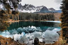 The beautiful Karersee in South Tyrol after the  Windthrow of October 2018 (Ostseetroll) Tags: geo:lat=4641153340 geo:lon=1157514290 geotagged ita italien karerpass karersee südtirolaltoadige dolomiten dolomiti dolomites alpen alps lagodicarezza latemar olympus em10markii