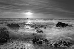 Ngawi sunset (dave.fergy) Tags: composite monchrome sea ocean waves sunset clouds coast sky