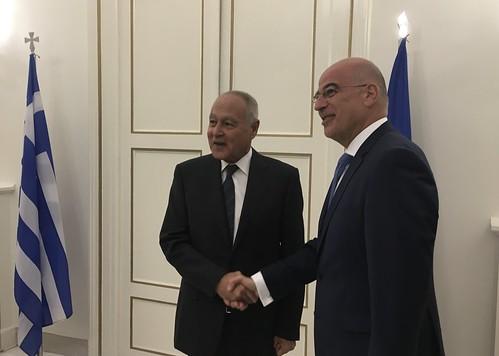 Συνάντηση ΥΠΕΞ, Νίκου Δένδια, με ΓΓ Αραβικού Συνδέσμου, Αhmed Aboul Gheit (ΥΠΕΞ, 29.10.2019)
