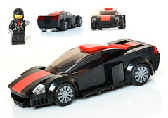 Street racer - red stripe v02 - 01 (_TLG_) Tags: car speed champions race street racer racing minifigure studless cars sportscar supercar hypercar auto automobile automotive power fast vehicle super lego moc 6studs legocar legoideas