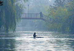 Foggy morning (Dumby) Tags: park morning autumn people lake fall water weather fog landscape românia bucurești sector3
