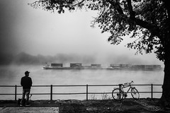 Nebelmorgen am Fluss (B. Hanner-Schmitz / W. Schmitz) Tags: noiretblanc schwarzweis monochrome leica leicaq rhein rhine fog nebel river fluss street morningmood königswinter schiff ship bnw