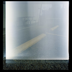 2019-10 H C R03 007 (kccornell) Tags: mistake exposure picnic table garys freetown port rico lamar parking lot hasselblad lafayette louisiana 500c 120 medium format film color kodak portra 400 6x6