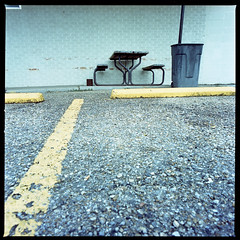 2019-10 H C R03 006 (kccornell) Tags: picnic table parking lot garys lamar freetown port rico hasselblad lafayette louisiana 500c 120 medium format film color kodak portra 400 6x6