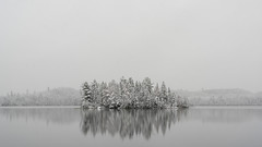 'What a difference a day makes ... ' (Canadapt) Tags: lake snow winter island storm fresh reflection keefer canadapt
