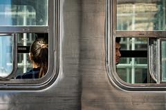 'Never the twain shall meet ... ' No. 6 (Canadapt) Tags: streetcar trolley window people man woman framed chrome street toronto canadapt