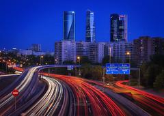 The 4 towers of Madrid (Luis Cagiao) Tags: 4torres 4towers madrid m30 city urban ciudad urbana trafico traffic highway autovia autopista cityscape skyscraper rascacielos