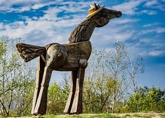 Gärten der Welt (Harry_Pl) Tags: gärten der welt berlin marzahn deutschland germany herbst baum wolken himmel pferd holz