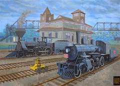 Palmerston Railway Mural (scilit) Tags: mural wallart publicart bertdegraaf art railway palmerston walkway tracks railwaystation steamengine train railroad historical ontario canada
