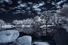 Boulders And Reflections At Santee Lakes (Bill Gracey 25 Million Views) Tags: reflections boulders trees clouds infrared infraredphotography ir convertedinfraredcamera highcontrast channelswapping santeelakes surreal