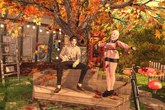 Art raises its head where creeds relax. (Chiaki♪) Tags: secondlife sl autumn maple animal bicycle pose mushroom newproduct event