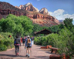 Zion Visitors Center and Entrance to Zion Canyon, Zion National Park, Utah (PhotosToArtByMike) Tags: zionvisitorscenter zioncanyonentrance zioncanyon zionnationalpark utah ut limestone erosion canyon scenic mountains desert goldensandstone rockspires landscape rockformations arid desertlandscape