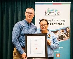 NORTHWEST TERRITORIES/TERRITOIRES DU NORD-OUEST: Award recipient/lauréate Liza Mandeville, with/avec John MacDonald, Assistant Deputy Minister of Education, Culture and Employment/Sous-ministre adjoint de l'Éducation, de la Culture et de la Formation