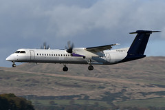 G-ECOK Flybe (Basic Brussels Airlines Colours) De Havilland canada Dash 8-Q400 at Glasgow Abbotsinch Airport on 27 October 2019 (Zone 49 Photography) Tags: aircraft airliner aeroplane october 2019 glasgow scotland egpf gla abbotsinch airport bebee flybe brussels airlines de havilland canada dhc dash 8dash8 dehavillandcanadadash8q400 q400 gecok