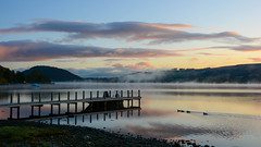 That special moment (moniquerebanks) Tags: sunrise ullswater zonsopgang lakedistrict merengebied cumbria unesco worldheritage meer see vapour serenity peaceful jetty steiger ducks reflections countryside countryliving uk nikond7100 landscape landschaft landschap autumn mist herbst herfst atmospheric evaporationmist