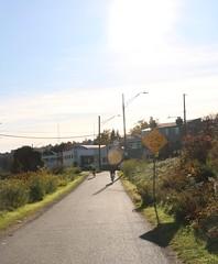 Burke Gilman Trail (Seattle Department of Transportation) Tags: bike sunny burkegilman sdot seattledepartmentoftransportation yello sign slow yellow biking trail nikiseligman