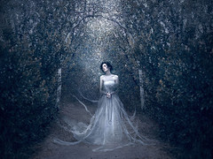 Spectre ({jessica drossin}) Tags: jessicadrossin ghost woman dress white bride death macabre trees arch outdoors ghostly halloween face portrait wwwjessicadrossincom